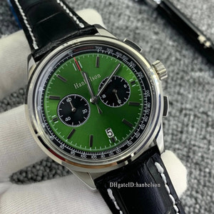 NEW 1884 mens watch montre de luxe VK movement Wristwatches Chronograph Green dial Steel Case Black leather strap Business Metal watches