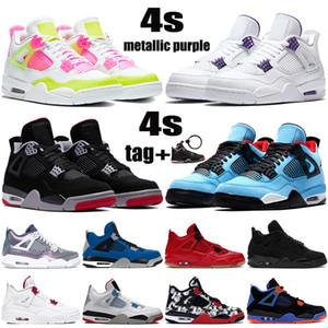 Acquista nuove scarpe da basket Jumpman 4 4s OVO Splatter metallizzato viola rosso verde allevato gatto nero outdoor sneakers da uomo US 7-13