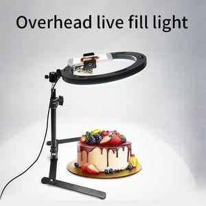 10 inch Ring Light Fill Lamp Overhead Bracket Jewelry Food Broadcast Live Light Shooting Photo Vlog Tripod Video Light
