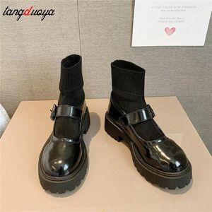 Zapatos de uniforme escolar japonés JK Shoes de estudiantes Chicas Mujeres Kawaii Lolita Muchacha suave de la plataforma redonda de la plataforma de la plataforma de la patente de la patente botas # 7h4o