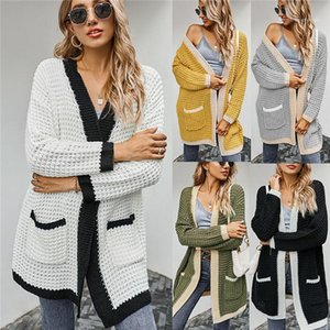 Women Sweaters With Pockets Thick Cardigant Sweater Coats Womens Loose Long Sleeve Winter Knits Fashion Patchwork