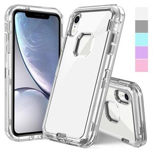 Heavy Duty Clear Robot Defender Cell phone Case Transparent for iPhone 12 11 XS MAX Samsung note 20 Ultra S20 Shockproof Case with OPP Ba