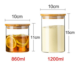 Glass Storage Tank Container Kitchen borosilicate Grain Organizer Jar With Bamboo Lid Sealed Containers tea canister GGA3790