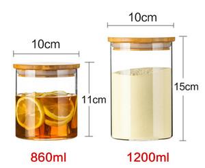 Verre Réservoir de stockage de conteneurs Cuisine borosilicate Jar grains Organisateur avec couvercle en bambou boîte Sealed thé Conteneurs GGA3790