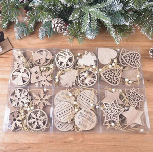 Décorations de Noël en bois exquis de Noël flocon de neige Pendentif laser Sculpté en bois creux Petit pendentif Arbre de Noël Ornement DWA1605