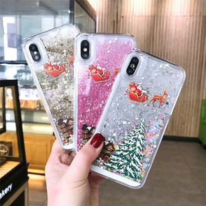 Glitter Stars Quicksand Christmas Tree Santa Claus Phone Case For iphone X 5 8 6S 7 Plus 11 12 Pro Max Back Cover DHL