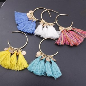 Nuovo arrivo Drop Dangle Orecchino Style National Tassel Semicircle Ornament Womens Jewelry Earrings Stud Pendants 2 8SD G2B