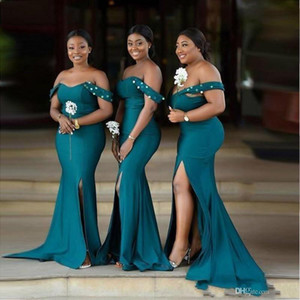 2021 Teal Bridesmaid Dresses Mermaid Sequins Satin Off the Shoulder Straps Side Slit African Plus Size Maid of Honor Gown Vestidos
