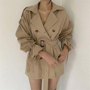 CBAFU double breasted lantern sleeve bandage coat women jacket with belt spring autumn solid streetwear long outwear P949