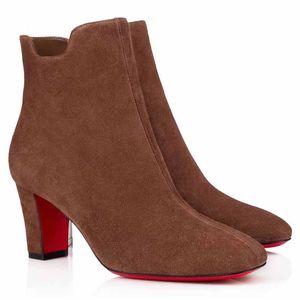 Красивые женские толстые каблуки женщина ботинки ботильоны Booty Tiagada Boot черные замшевые ботинки в чате, роскошный парижский высококачественный бесплатный корабль