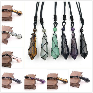 Natural Gemstone Pendant Necklace Hand-woven Hexagonal Cone Crystal Stone Necklace Healing Chakra Reiki Stone Charm Necklace OWE2178