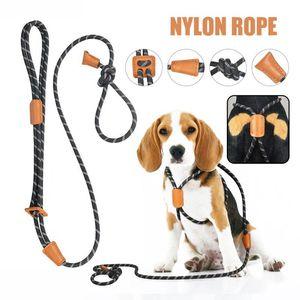 Moda duradera reflectante trenzado nylon cuerda rastreo correa correa ajustable nylon leash para perros envío de gota