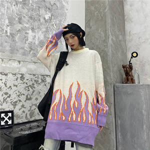 Sweater Harajuku Hip Hop Flame Fire Sweaters Knit 2020 Autumn Couple Winter Man Women Outfits Loose Pullover Fashion Tops Unisex 0929