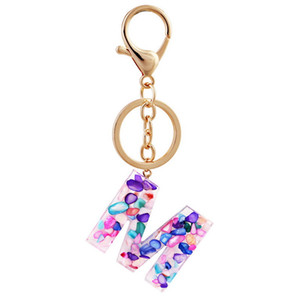 Letter keychain Alphabet keyring Chain Wristlet Semitransparent Colorful Pendant key chain Organizer Holder Cartoon Accessories 13 J2
