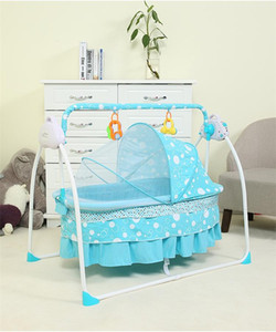 Basinets Cradles 2021 Baby Cradle Bed Pobling eléctrico Nacido con Mosquitera Net Blue / Pink Sleeping Cesta
