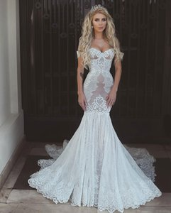 Newest Gorgeous Mermaid Wedding Dress Said Mhamad Off Shoulder Lace Applique Backless Bridal Gowns Custom Made Vestido De Novia