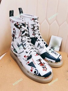 The latest trend of casual fashion 3D pattern playing cards couple models men and women boots trend breathable comfortable couple boots