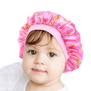Kids Size Satin Bonnet Print Cute Patterns Lovely Hair Care Sleep Hat Children Loose Silky Beanie With Wild Elastic Band