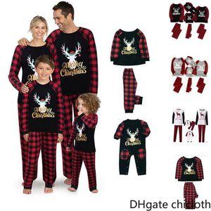 Рождество Пижамы Комплекты для семьи Набор одежды Рождество пижамы Топы Куклы и брюки Родитель Ребенок Outfit Parent-Child Xmas Party FY9251