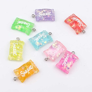 10pcs Sweet Sugar Candy Resin Charms Letter Earring Findings Cute Keychain Earphone Cover Pendant Adornment Jewelry Accessory