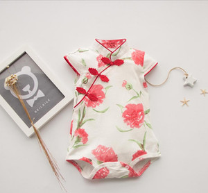 Baby Gir lClothes2020 Summer Chinese Style Rompers floral print New born Baby Clothes roupa menina Infant Baby Girl Romper#ower