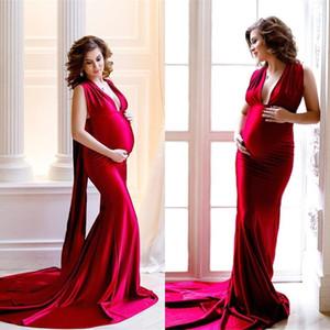 Red Mermaid Maternity Evening Dresses Silk Satin 2021 Deep V Neck Baby Shower Maternity Gown Photoshoot Bathrobe Pregnancy Prom Dress AL7319