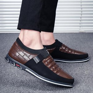 Genuine Leather Men Casual Shoes 2020 Brand Mens Loafers Moccasins Breathable Men Slip on Black Driving Shoes Big Size 39-48