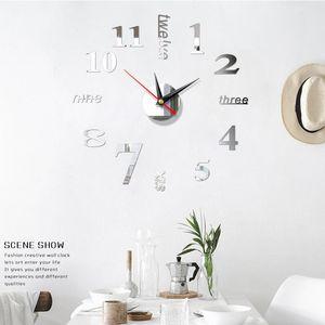 2020 New Clock Watch Wall Clocks 400mm 3D DIY Acrylic Mirror Stickers Home Decoration Living Room Quartz Needle Free Shipping