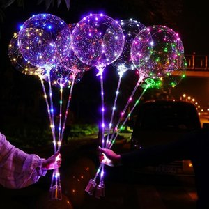 Luminous LED BoBo Balloons with Stick Flashing LED String Lights 18 Inch Fluorescent Balloons for Christmas Birthday Party Decoration