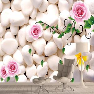 Custom 3d Wal Papers Home Decor 3d Wallpapers Murals for Living Room Desktop Contact Peel Stick Flower Pebble Rose Green Rolls