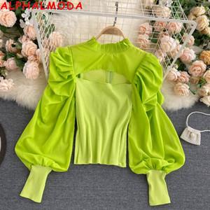 AlphalModa Neue Trendy Frauen Puff Sleeve Tshirt Aushöhlen Sexy Design Candy Color Damen Stilvolle Frühlingsausstattung C0129
