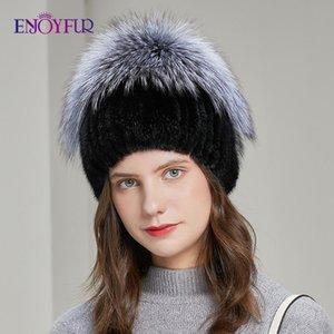 ENJOYFUR Warm Women Winter Hat Natural Fur Knit Bonnets Fashion Flower Bead Elastic Female New Brand Casual Beanies
