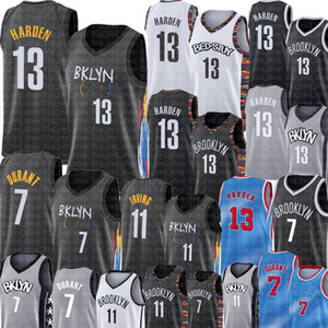 Yeni 13 Sertlen Jersey Kevin 7 Durant Jersey Yeni 11 Kyrie Erkek Basketbol Irving Jersey Yüksek Kalite Siyah Beyaz Gri S-XXL