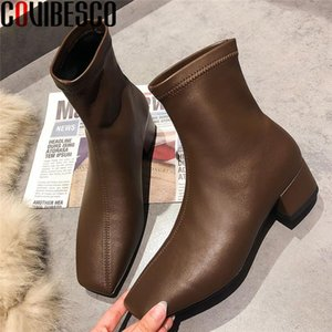 COVIBESCO 2020 Autumn Winter Square Toe Women Winter Boots Fashion Newest Thick Heels Pumps Retro Office Lady Party Shoes Woman