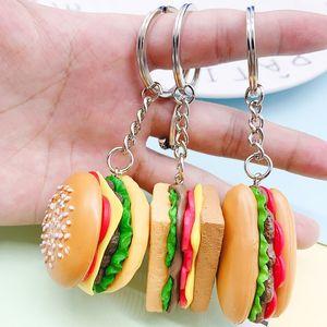 Yüksek Kaliteli Plastik Hamburger Mini Hot Dog Hediyeler Key Rings Şeklinde Anahtarlıklar Sandwich WB2821