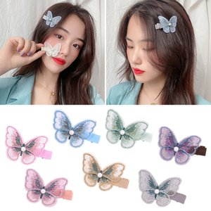 Baby Girls 2.4 Inch Cute Embroidery Butterfly Hair Clip Barrettes Kids Hair Accessories back head spoon hairpin bow hai A355