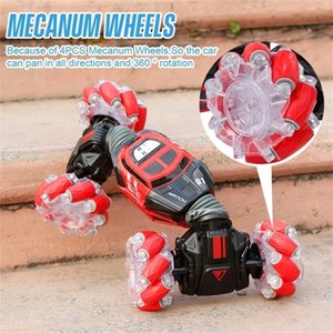 4WD RC Stunt Car Watch Gesture Sensor Control Deformable Electric RC Drift Car Transformer Car Toys for Kid Gift with LED Light 201223