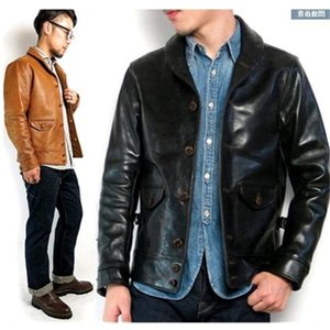 Free shipping.Brand classis Cossack horsehide coat,man genuine leather Jacket,quality men's slim japan style leather clothes 201126