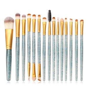 15pcs set Glitter Diamond Makeup Brush Set Beauty Tools Eye Shadow Foundation Powder Blush Brush Beginner Cosmetics Kits