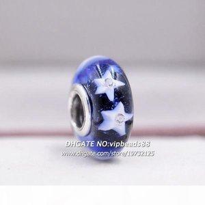 New Jewelry Blue Blue Star a cinque punte CZ Murano Branelli in vetro Montare la collana di Bracciali di fascino Pandora di Pandora di FAI DA TE