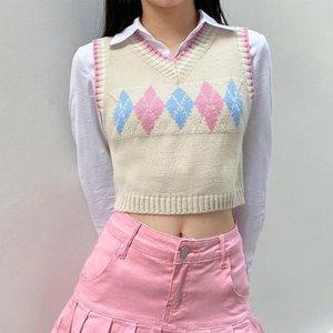 Женские жилеты женщины вязаные без рукавов свитер конфеты цвет argyle плед жаккардовый тонкий жилет v-образным вырезом Preppy стиль винтажный джакушер
