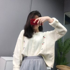 2020 yeni kadın kısa ceket net aynı Cherry jakarlı hırka Avrupa ağır sanayi uzun kollu kazak kırmızı