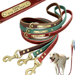 120cm Dog Leash Custom Leather Dog Leash Nameplate Id Tag Collar Lead Pet Walking Lead For Small Medium Large Dogs K9 bbyXYz