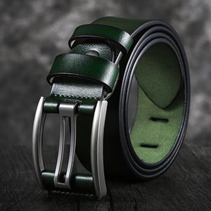 Genuine Leather Belt Male Black Green Blue Coffee High Quality Belt Vintage Men Belts Cummerbunds 90-130CM