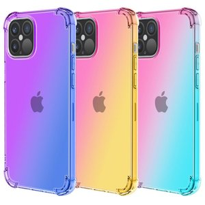 Fashion Gradient Dual Color Transparent TPU Shockproof Phone Case for iPhone 11 Pro Max XR XS MAX 8 Plus S10 Plus Note 10 Pro