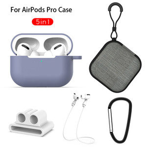 5 in 1 Silicone Case Cover For Apple Airpods Pro Lanyard Carabiner Earphone Protective Non-slip Soft Bag For AirPod 3 Storage Box Accessorie