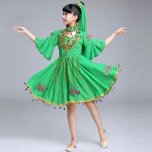 2020 New Children Xinjiang Dance costumes Nation Uygurs Dance Clothing Xinjiang Performance stage party dress green clothing