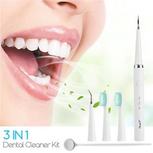 3 in 1 elettrico dente Cleaning Kit Cordless Tartaro dentale Denti smacchiatore a pile vibrazione Spazzolino Oral Care