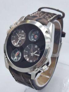 Compasso multi fuso horário masculino relógio personalizado 1139