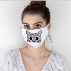 Maschere Bianco Testa degli animali Ritratti Stampa di copertine Bocca copertura Catoon riutilizzabile lavabile Bocca regolabile anti polvere maschera di protezione GGB2270